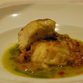 Merluza con salsa de centollo y esencia de guisantes - Post Nautalia